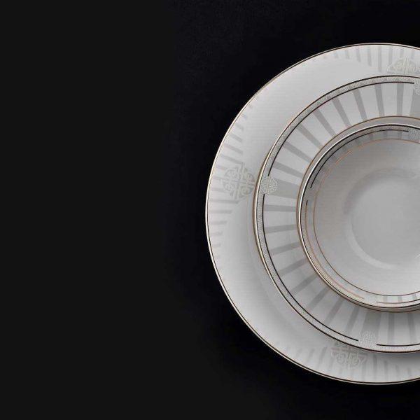 Kadoland-Bitter Elegance Yuvarlak Yemek Takımı - 60 Parça-N2628-1