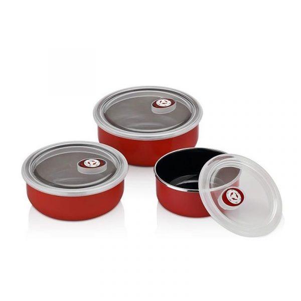 kadoland-Neva Kırmızı Sweet 3lu Emaye Pisir Sun Ye Kaplari - N1036