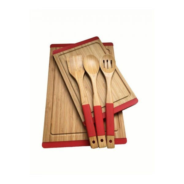 kadoland-Neva Kırmızı Sweet Bambu Mutfak Seti - N2325
