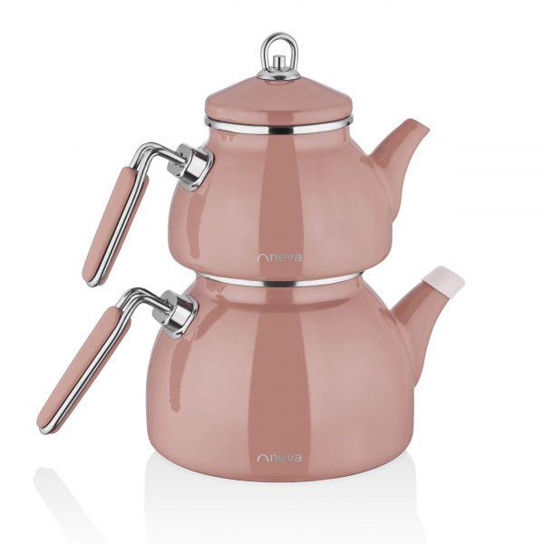 kadoland-neva-Rose Chocolate Emaye Demlik Seti-N2862
